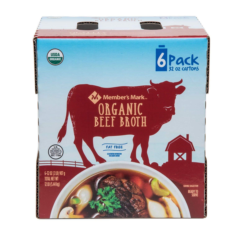 Member's Mark Organic Beef Broth 32 famous 6 oz. In stock pk. pack carton fl.