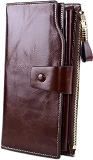 Anvesino Women's RFID Blocking Leather Wallet Large Capacity Luxury Wax Clutch Purse Multi Card Organizer