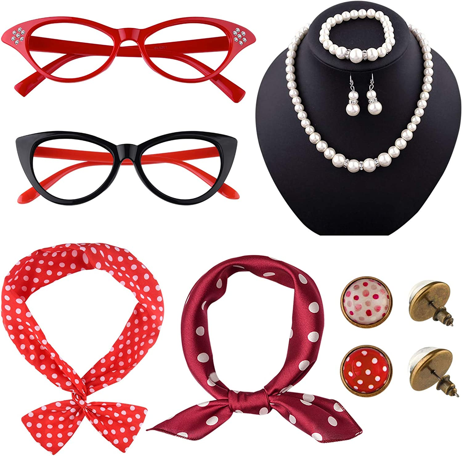 TUPARKA 12 Sales Pieces 50s Costume Accessories Set Cat Special Campaign Eye Fa Glasses