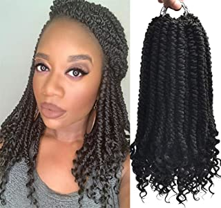 Bomb Twist (12inch,#1B,8pks) Senegalese Crochet Hair Curly End Pre Twisted Braiding Hair Extensions