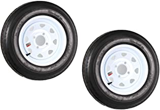 2-Pack Trailer Tires On White Rims 530-12 5.30-12 5.30 x 12 Load C 4 Lug