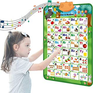 Toworld Electronic Interactive Alphabet Wall Chart, Talking ABC & 123s & Music Poster, Educational Toys Gifts for Kids Tod...