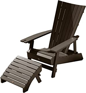 Highwood AD-KITADRI2-ACE Adirondack Chair with Ottoman, Weathered Acorn