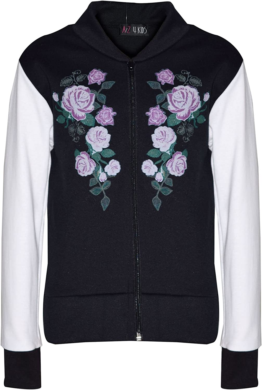 Kids Girls Jacket Floral Print Bomber Zip Up Biker Jackets MA 1 Coat 5-12 Years