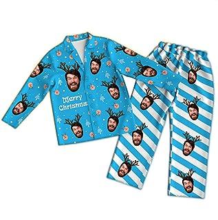 Conjunto de Pijama Personalizado con Foto Personalizada, Manga Larga, Personalizado, Cara de Mascota, Navidad, Pijamas Familiares, Conjunto de Ropa de Dormir, Conjunto de Ropa de Dormir