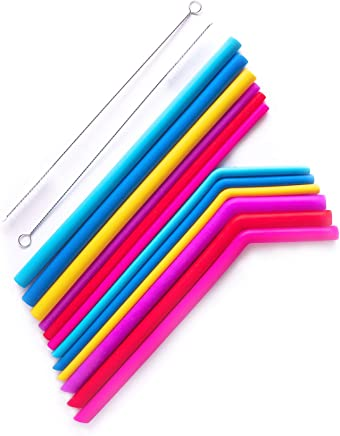 Reusable Straws 12 Pc Silicone Set - LARGE And REGULAR Sized - BPA Free Multi - Color Reusable Drinking Straws for 20/30oz Yeti, Tumblers, Cups - Curved And Straight,  Set of 12 + 2 Cleaning Brushes