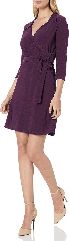 Star Vixen Women's Plus-Size Three-Quarter Sleeve Faux-Wrap Dress