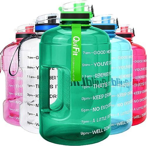 QuiFit Motivational Gallon Water Bottle - with Time Marker & Infuser & Flip Top 128/73 oz Leak-Proof Reusable Water J...