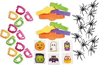 Nikki's Knick Knacks 216 Halloween Party Favory Set- Tattoos, Bracelets, Vampire Fangs, and Spider Rings