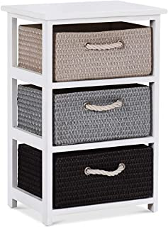 Giantex Nightstands Wooden End Tables W/Knitted Drawers Bedside Table Storage Organizer for Living Room Bedroom Bathroom Side Table (Three Drawers Nightstand)