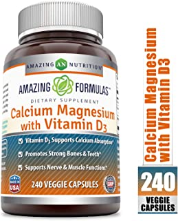 Amazing Formulas - Calcium Magnesium with Vitamin D3-500 Milligrams - 240 Veggie Capsules (Non-GMO) - Promotes Stronger Bones and Teeth - Supports Muscle and Nerve Function*