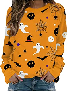 ReooLy Women's Halloween Long Sleeve Tops Autumn Fashion Causal Funny Cute Pumpkin Black Cat Ghost Graphic Printed Ladies ...