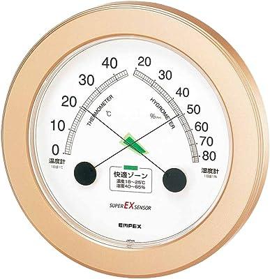 エンペックス気象計 温度湿度計 スーパーEX 温湿度計 壁掛け用 日本製 シャンパンゴールド EX-2738