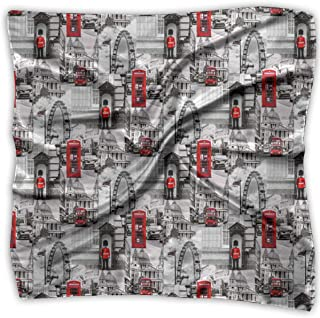 Square Satin Scarf London Black White Red UK Britain Silk Like Lightweight Bandanas Head Wrap Neck Headscarf
