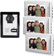 AMOCAM 7inch LCD Monitor Wired Video Intercom Doorbell System, 1 Camera 3 Monitor Video Door Phone Bell Kits, Support Moni...