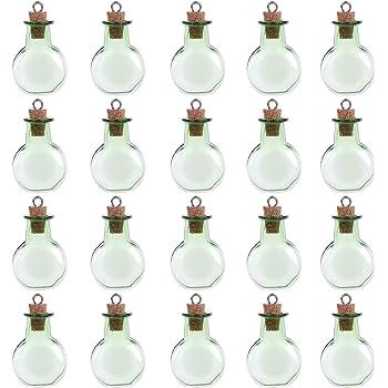Verde Coolty Confezione da 20 Mini Bottiglie di Vetro con Tappo in Sughero per Decorazioni Fai da te
