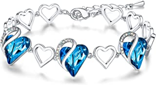 """Leafael Infinity Love Heart Link Bracelet with Birthstone Crystal, Women's Gifts, Silver-tone, 7"""" with 2"""" Extender"""