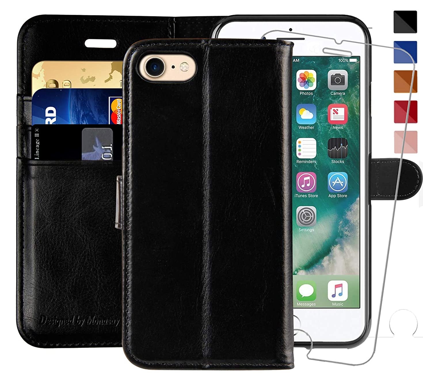 iPhone 6 Wallet Case/iPhone 6s Wallet Case,4.7-inch, MONASAY [Glass Screen Protector Included] Flip Folio Leather Cell Phone Cover with Credit Card Holder for Apple iPhone 6/6S (Black1)