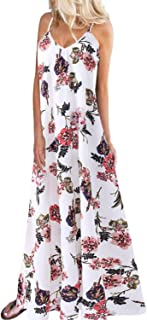 Women's Boho Maxi Dress Sleeveless Summer Floral Solid Spaghetti Strap Casual Loose Beach Dress