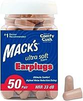 Mack's Ultra Soft Foam Earplugs, 50 Pair - 32dB Highest NRR, Comfortable Ear Plugs for Sleeping, Snoring, Travel,...