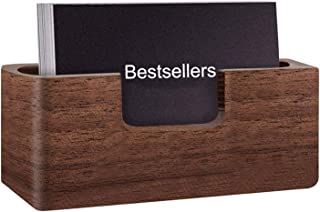 Lawei Business Card Holder for Desk - Wood Desktop Business Card Stand Business Card Display Holder for Office, Tabletop