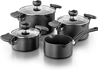 Kopf Juego de ollas NELA de Aluminio, Juego de Utensilios de Cocina de inducción con ayudante de Colada Inteligente, ollas 3X con Tapa de Vidrio y 1x cazuela, 7 Piezas