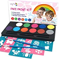 Maydear Face Painting Kit for Kids with 12 Safe and Non-Toxic Water Based Face Paint palette, 40 Stencils & 2 Brushes