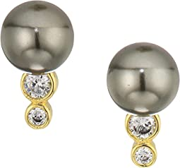 Cole Haan - Pearl Stud Earrings with Cubic Zirconia Stone Accents