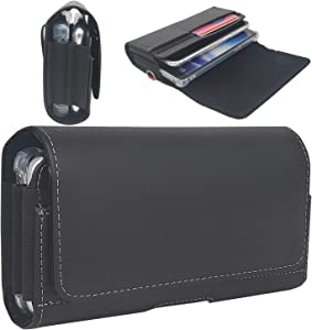 RSBELL 2 Cell Phone Holster Pouch Leather Case with Belt Clip Holder for iPhone 12 Pro Max/11 pro max XR/X/Xs Max /8 7 6 6S Plus/Galaxy Note 8, Note 9, Note 10+(for Slim/Thin Case)