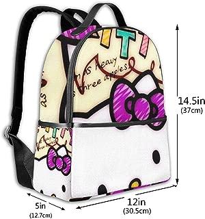 Classic School Backpack Love Happy Hello Kitty Unisex College Schoolbag Travel Bookbag Black
