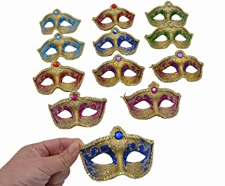Mini Masquerade Mask Party Decorations - 12pcs Pack Luxury Gemstone Mardi Gras Small Venetian Mask Decor Party Favors