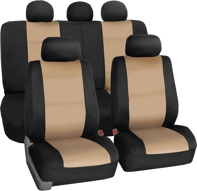 FH Group FB083BEIGE115 Full Set Neoprene Seat Cover Semi-Universal (Neoprene Waterproof Airbag Compatible Split Bench Beige)