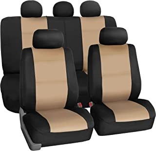 FH Group FB083BEIGE115 Full Set Neoprene Seat Cover Semi-Universal (Neoprene Waterproof Airbag Compatible Split Bench Beige)