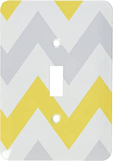 3dRose lsp_179796_1 Big Yellow and Gray Chevron Zig Zag Pattern Grey White Zigzag Stripes Light Switch Cover