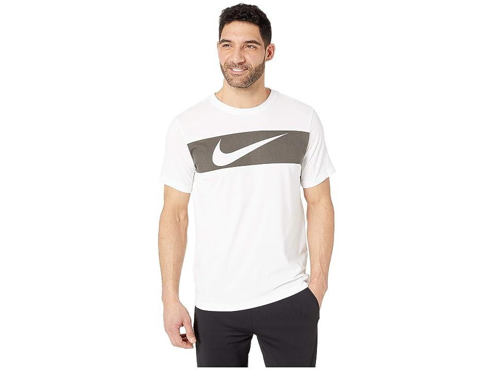 Nike Dry Tee Dri-FITtm Cotton Swoosh Bar (White/Black) Men