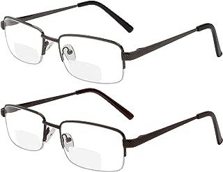 Reading Glasses Set of 2 Bifocal Half Rim Metal Glasses for Reading Quality Spring Hinge Readers Men and Women