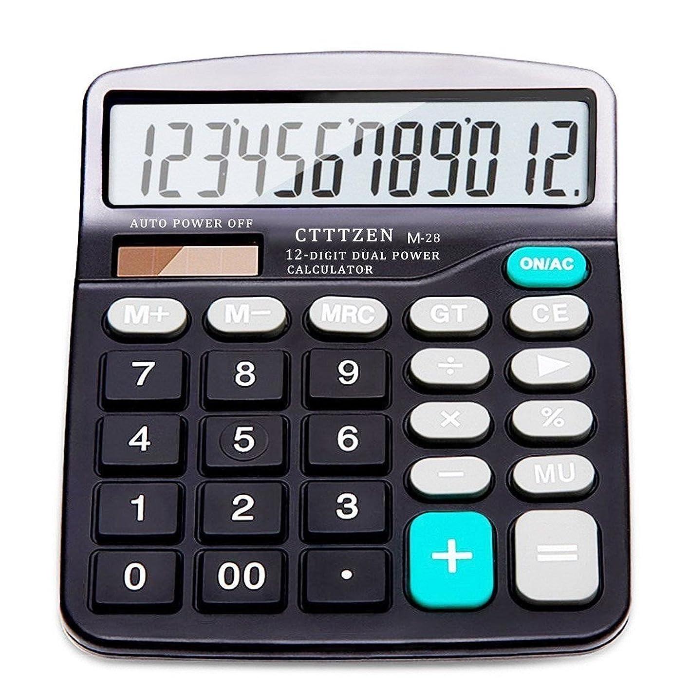 浪費どこにもはちみつオフィス標準関数電卓デスクトップ12桁デュアル電源(1?AAバッテリ付属)