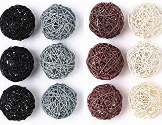 Byher 12-Pack Large Wicker Rattan Balls - Decorative Balls for Bowls, Vase Filler, Coffee Table Decor, Wedding Party Decoration