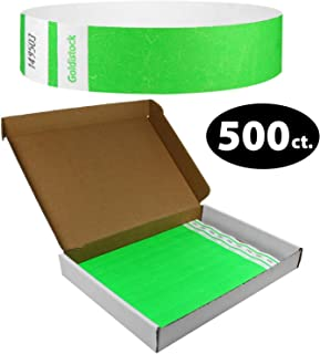 """Tyvek Wristbands - Goldistock Select Series with Box - Vibrant Neon Green 500 Count - ¾"""" Arm Bands - Paper-Like Party Armbands - Upgrade Your Event - Box Provides Extra Security & Convenience"""