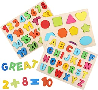 Wooden Puzzles for Toddlers, Voamuw Wooden Alphabet Number Puzzles and Shape Puzzle for Kids Ages 2 3 4 5, Toddler Learning Puzzle Toys Set for Boys and Girls (3-Pack)