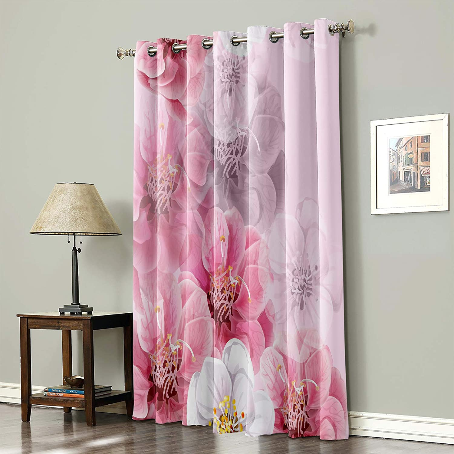 Blackout 高級品 Curtain for Bedroom Flowers Pink Spring Thermal 正規店 Insula