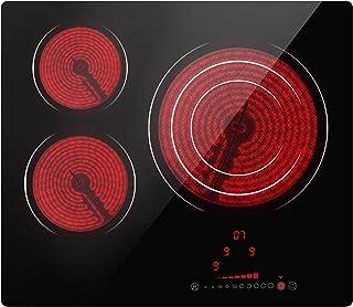 Table De Cuisson Vitroceramique 3 Foyers, Encastrable Plaque Vitrocéramique - (6600W Plaque de Cuisson Électrique, Touch C...