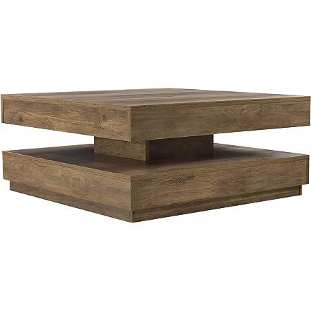[en.casa] Table Basse avec Plateau Tournant Panneau de Fibre de Bois Couleur Effet Bois 76 x 76 x 38 cm