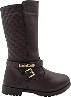 bebe Girls' Big Kid Slip On Tall Fashion Riding Boots with Quilted Back
