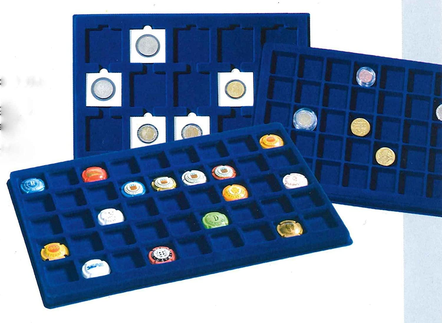 Lighthouse Blue Felt Coin Display Trays Coins Medals /& Cargo L6 Coin Case 15 X 50 Mm Quadrum