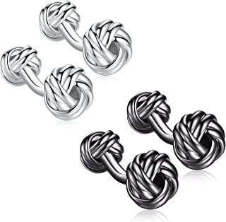 HONEY BEAR Knot Cufflinks for Mens Shirt,Stainless Steel for Business Wedding Gift