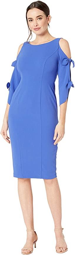 917533c1cbf Donna morgan midi sheath dress w ruffle sleeve and side slit ...