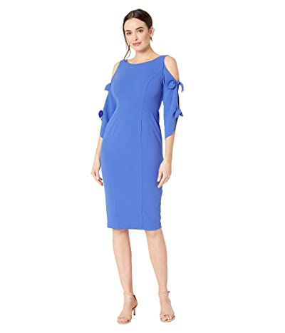 Donna Morgan Crepe Midi Long Sleeve with Tie Detail (Acrylic Blue) Women