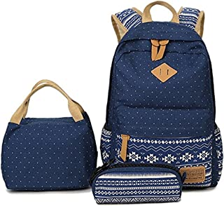 Geometry Polka Dots Casual Canvas Backpack + Lunch Bags + Pen Case Bags Set