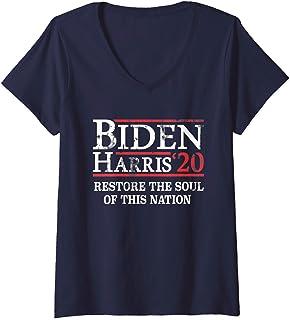 Womens Restore the soul of this nation | Biden Harris 2020 Democrat V-Neck T-Shirt